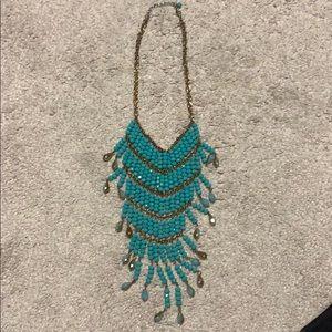 Brass bib turquoise necklace